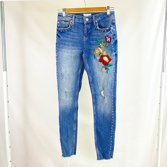Zara Woman Embroidered Floral Denim Skinny Jeans Size 6